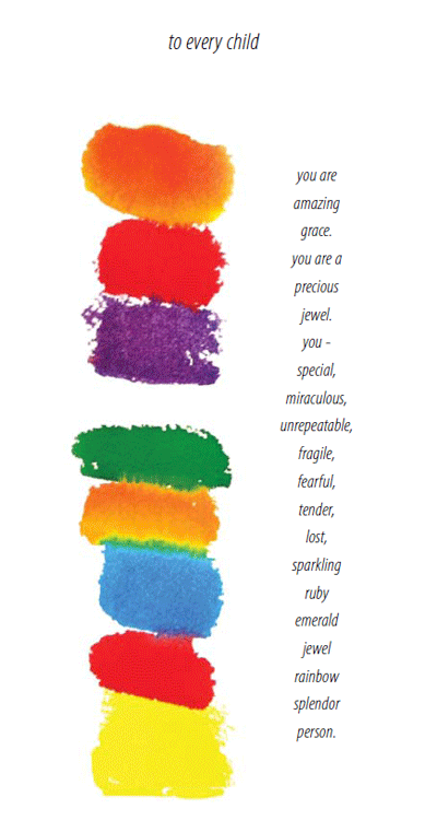 Image of a watercolor rainbow with a poem by Joan Baez