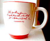 "Corita Two-Tone Bistro Mugs with ""It's only fair that each child be cherished"" quote"